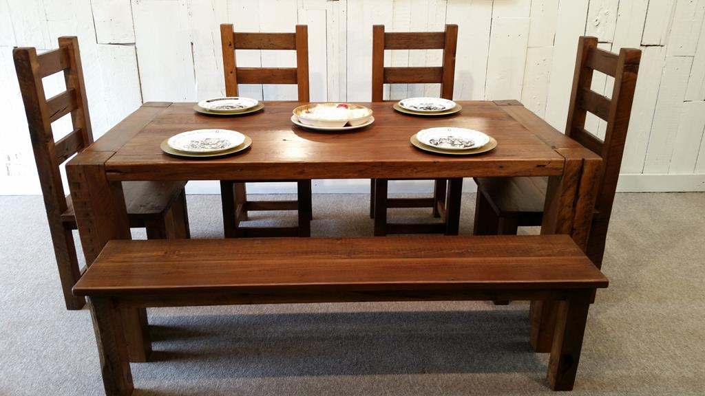 Rustic Wood Dining Table With Chairs And Bench